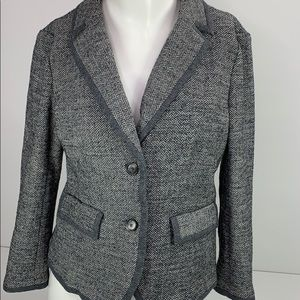 LOFT Herringbone Gray Black Wool Blazer Buttons S